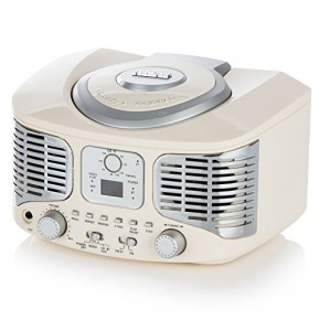 Akai Retro Boombox CD Player with FM Radio & Bluetooth - Cream