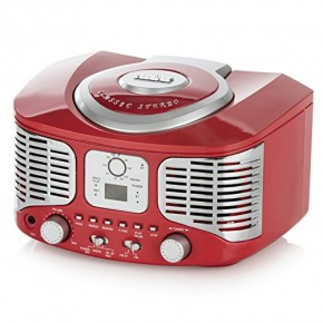 Akai Retro Boombox CD Player with FM Radio & Bluetooth - Red