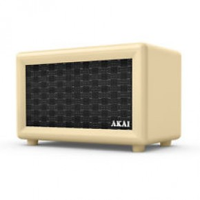 Akai Retro Rechargeable Retro Bluetooth Speaker - Cream