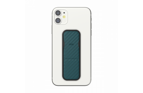 Clckr Universal Phone Grip & Stand Small - Carbon Fibre Turquoise