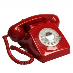 GPO 746 Classic Rotary Dial Home Telephone - Red