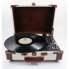GPO Ambassador Portable Attache Case Vinyl Player & Scanner - Cream/Tan