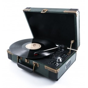 GPO Ambassador Portable Attache Case Vinyl Player & Scanner - Green/Black