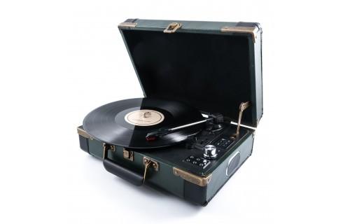 GPO Ambassador Portable Attache Case Vinyl Player & Scanner - Green/Black