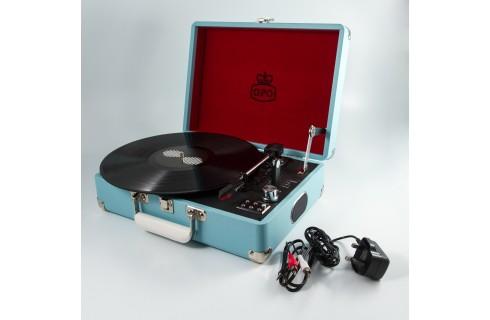 GPO Attache Case Vinyl Player & Scanner - Blue
