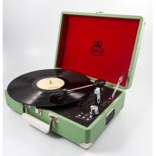 GPO Attache Case Vinyl Player & Scanner - Green
