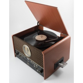 GPO Chesterton Vinyl & Cassette Player & Scanner - Rose Wood