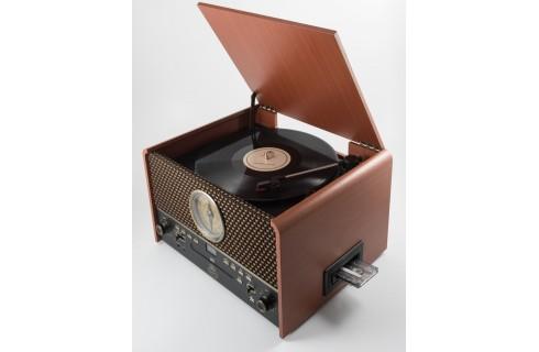GPO Chesterton Vinyl & Cassette Player & Scanner - Rose Wood