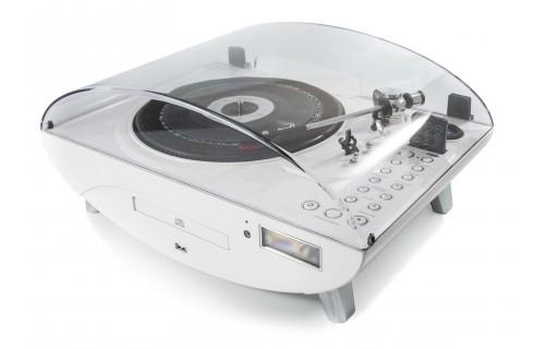 GPO Jive Vinyl, CD, MP3 & Radio Music Center - White
