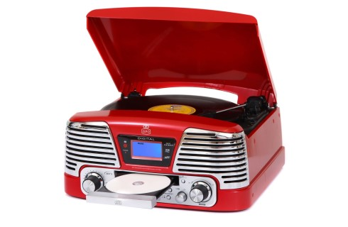 GPO Memphis Vinyl, CD, MP3 & Radio Music Centre - Red