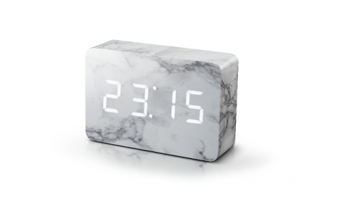 Gingko Brick Click Clock - Marble with White LED