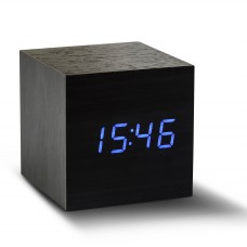 Gingko Cube Click Clock - Black with Blue LED