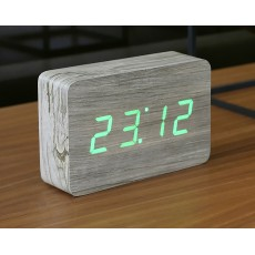 Gingko Brick Click Clock - Ash with Green LED