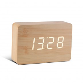 Gingko Brick Click Clock - Beech with White LED