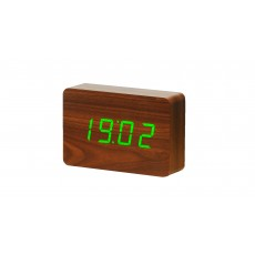 Gingko Brick Click Clock - Walnut with Green LED