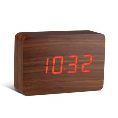 Gingko Brick Click Clock - Walnut with Red LED