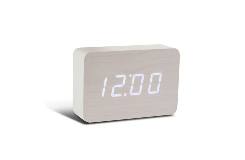 Gingko Brick Click Clock - White with White LED