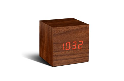 Gingko Cube Click Clock – Walnut with Red LED