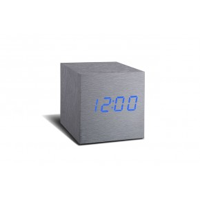 Gingko Cube Click Clock - Aluminium with Blue LED