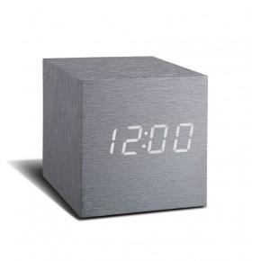 Gingko Cube Click Clock - Aluminium with White LED