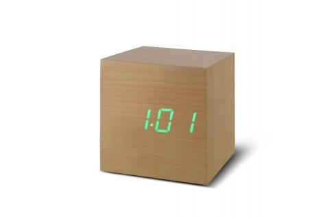 Gingko Cube Click Clock - Beech with Green LED