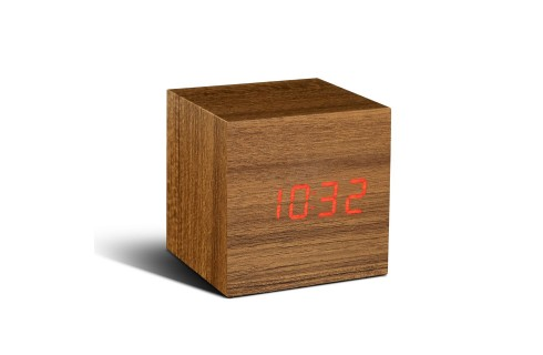 Gingko Cube Click Clock - Teak with Red LED