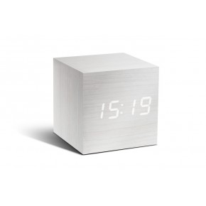 Gingko Cube Click Clock - White with White LED