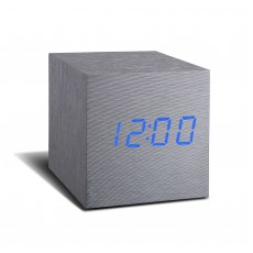 Gingko Maxi Cube Click Clock - Aluminium with Blue LED