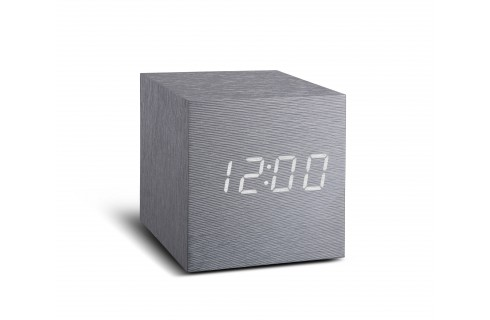 Gingko Maxi Cube Click Clock - Aluminium with White LED
