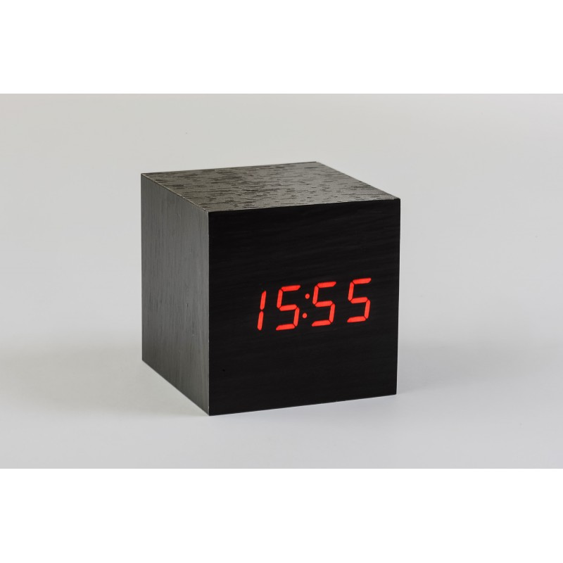 gingko maxi cube click clock black with red led. Black Bedroom Furniture Sets. Home Design Ideas