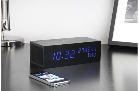 Gingko Music Click Clock - Black with Blue LED