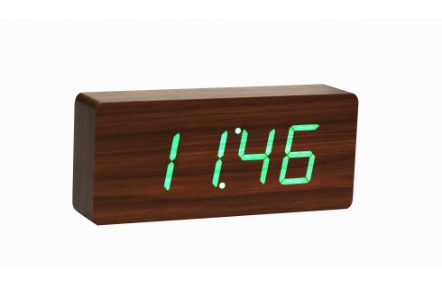 Gingko Slab Click Clock - Walnut with Green LED
