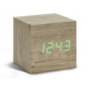 Gingko Cube Click Clock - Ash with Green LED
