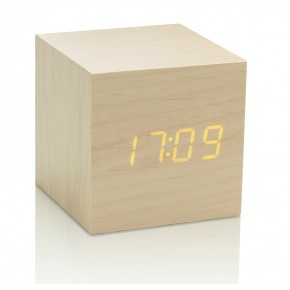 Gingko Cube Click Clock - Maple with Orange LED