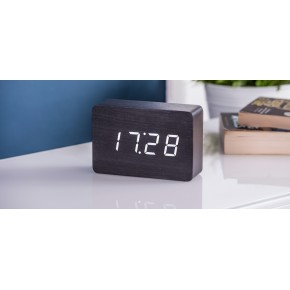 Gingko Brick Click Clock - Black with White LED