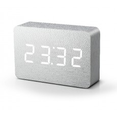 Gingko Brick Click Clock - Aluminium with White LED