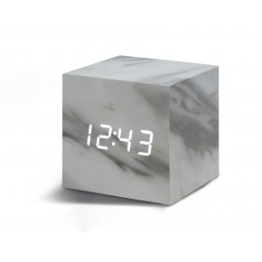 Gingko Cube Click Clock - Marble with White LED