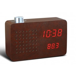 Gingko FM Radio Click Clock - Leatherette