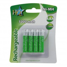 HQ AAA NiMH 1.2v Rechargeable Battery 10000 mAh, 4-Pack