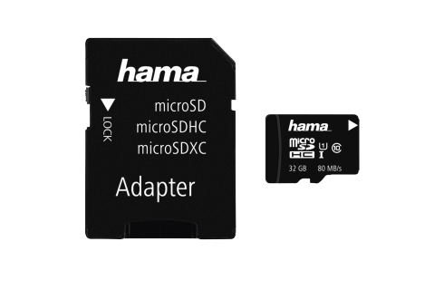 Hama microSDHC 32GB Class 10 UHS-I 80MB/s + Adapter Memory Card
