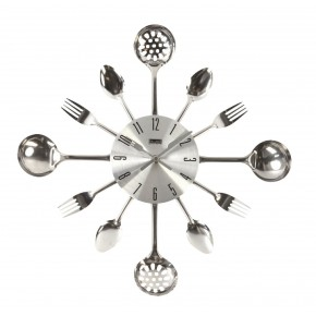 Balance Time Cutlery Style Wall clock - Silver
