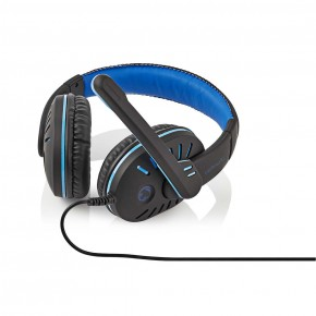 Nedis Xyawyon Gaming Headset, Wired Over Ear with Ultra Bass and Mic - Black/Blue