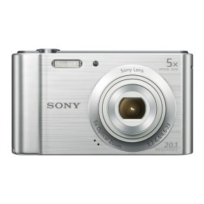 Sony Cyber-shot W800 Digital Camera, 16GB Card & Case - Silver