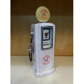 Steepletone Petrol Pump Analogue Alarm Clock & Radio - White
