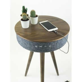 Steepletone Tabblue Bluetooth Table with Aux Playback and USB Charging - Dark Wood