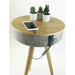 Steepletone Tabblue Bluetooth Table with Aux Playback and USB Charging - Light Wood