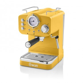 Swan Retro Pump Espresso Coffee Machine - Yellow