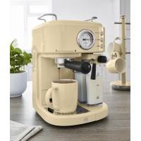 Swan Retro Semi-Automatic Espresso Coffee Machine 1.7L & 20 Bars o/Pressure - Cream