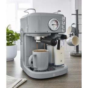Swan Retro Semi-Automatic Espresso Coffee Machine 1.7L & 20 Bars o/Pressure - Grey