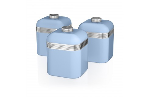 Swan Retro Set of 3 Canister Set - Blue